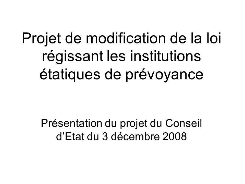 Projet de modification de la loi régissant les institutions étatiques de prévoyance Présentation du projet du Conseil dEtat du 3 décembre 2008