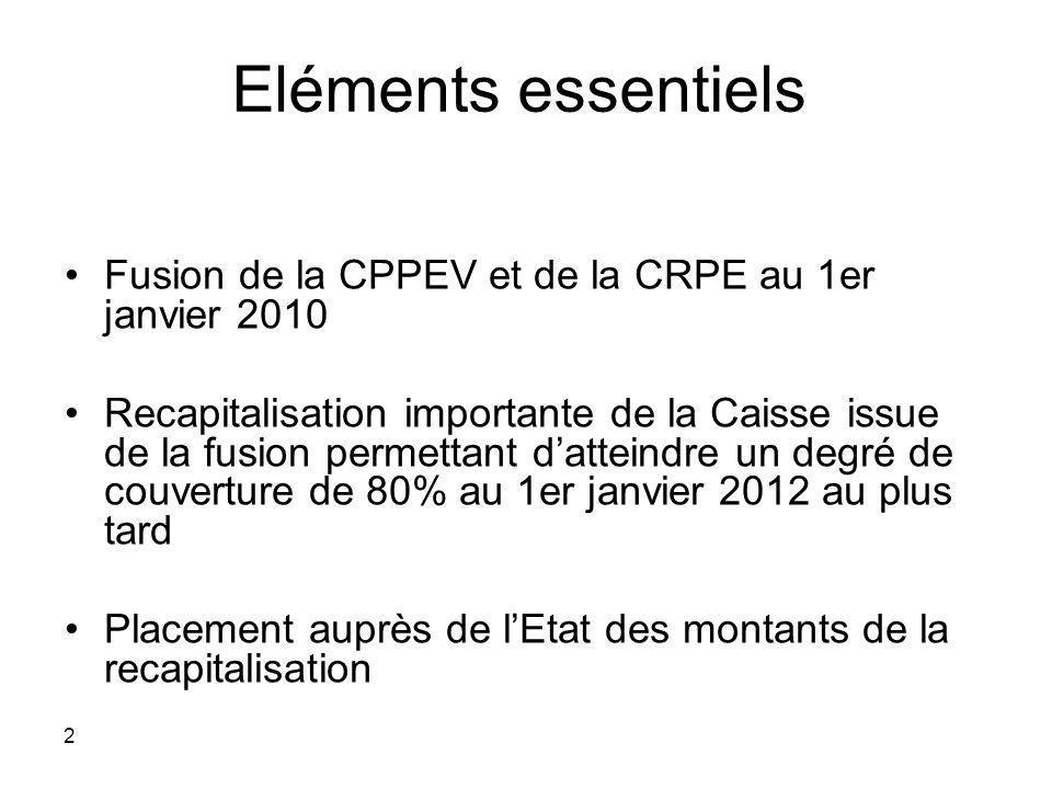 2 Eléments essentiels Fusion de la CPPEV et de la CRPE au 1er janvier 2010 Recapitalisation importante de la Caisse issue de la fusion permettant datt