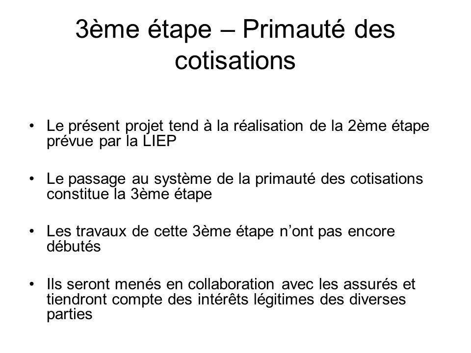 3ème étape – Primauté des cotisations Le présent projet tend à la réalisation de la 2ème étape prévue par la LIEP Le passage au système de la primauté