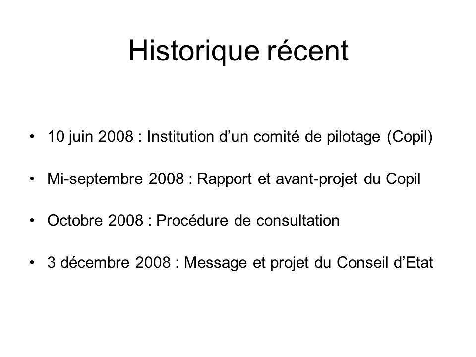Historique récent 10 juin 2008 : Institution dun comité de pilotage (Copil) Mi-septembre 2008 : Rapport et avant-projet du Copil Octobre 2008 : Procéd