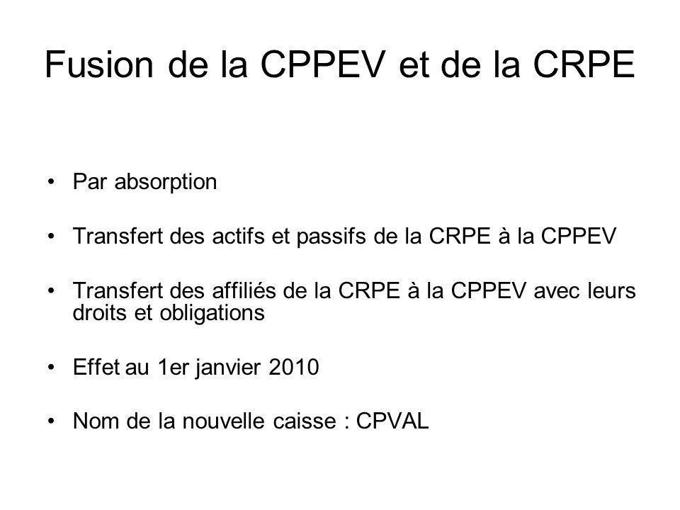 Fusion de la CPPEV et de la CRPE Par absorption Transfert des actifs et passifs de la CRPE à la CPPEV Transfert des affiliés de la CRPE à la CPPEV ave