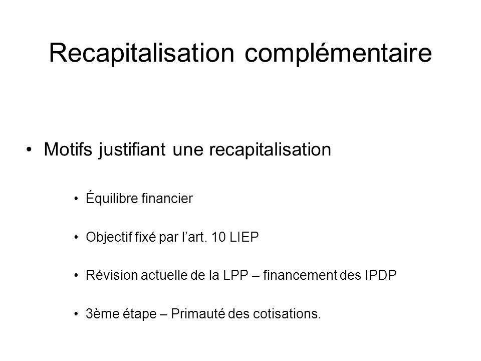 Recapitalisation complémentaire Motifs justifiant une recapitalisation Équilibre financier Objectif fixé par lart. 10 LIEP Révision actuelle de la LPP