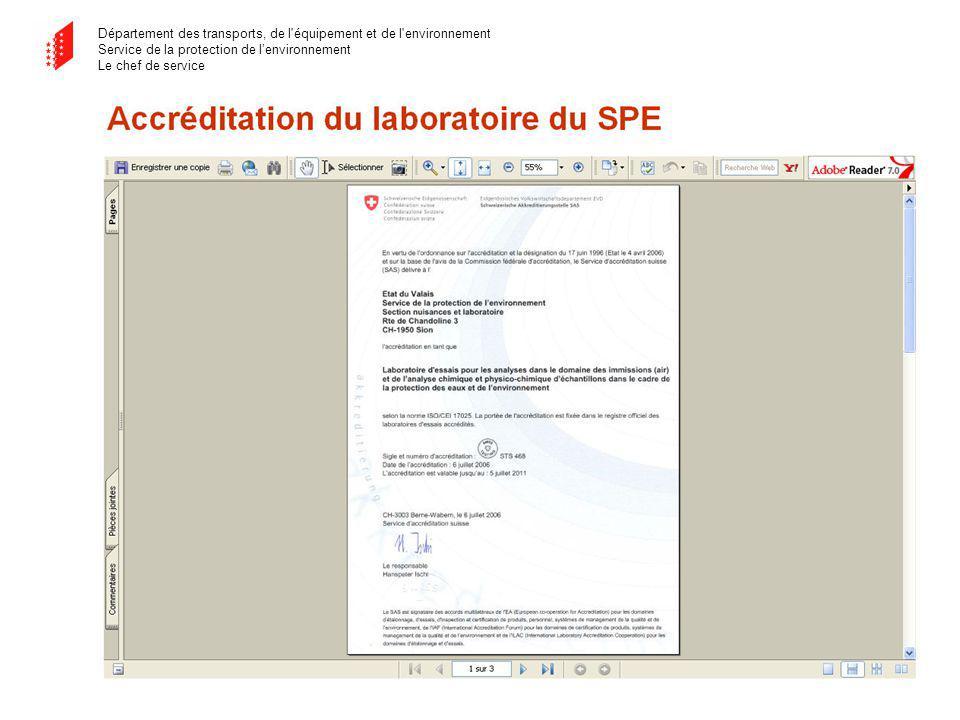 Département des transports, de l équipement et de l environnement Service de la protection de lenvironnement Le chef de service Accréditation du laboratoire du SPE