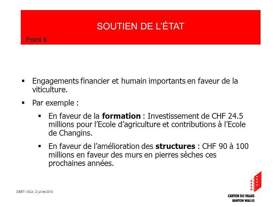 DEET / SCA 2 juillet 2010 SOUTIEN DE LÉTAT Point 6 Engagements financier et humain importants en faveur de la viticulture.