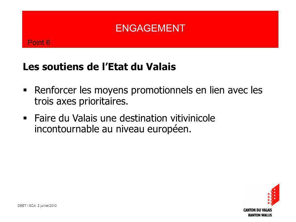 DEET / SCA 2 juillet 2010 ENGAGEMENT Point 6 Les soutiens de lEtat du Valais Renforcer les moyens promotionnels en lien avec les trois axes prioritaires.