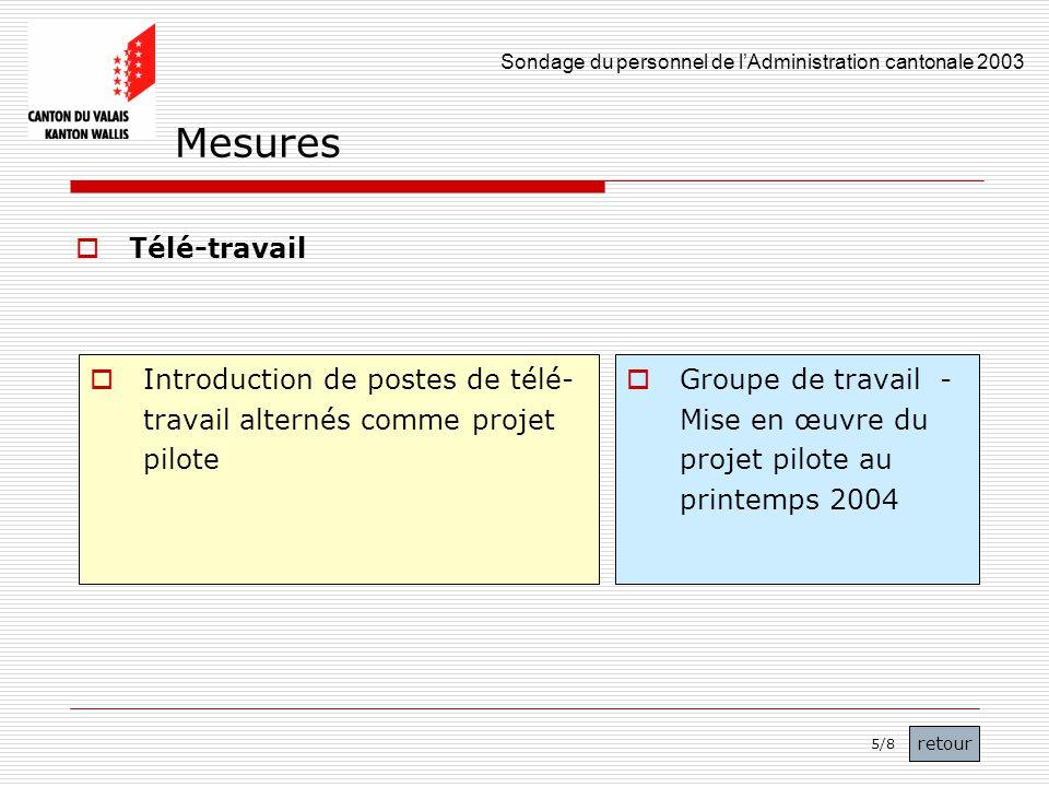 Sondage du personnel de lAdministration cantonale 2003 47 Télé-travail Introduction de postes de télé- travail alternés comme projet pilote Groupe de