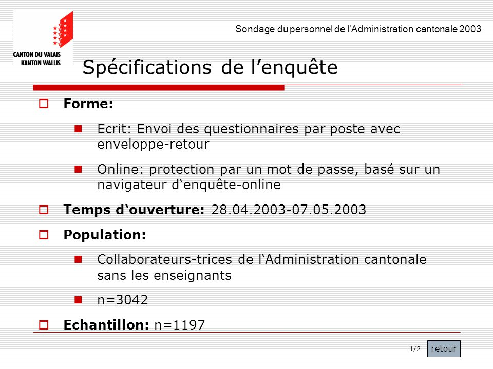 Sondage du personnel de lAdministration cantonale 2003 7 Spécifications de lenquête Forme: Ecrit: Envoi des questionnaires par poste avec enveloppe-re