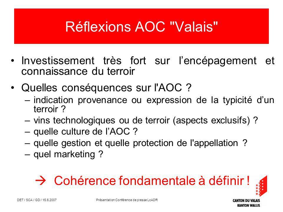 DET / SCA / GD / 15.6.2007 Présentation Conférence de presse LcADR Réflexions AOC Valais Investissement très fort sur lencépagement et connaissance du terroir Quelles conséquences sur l AOC .