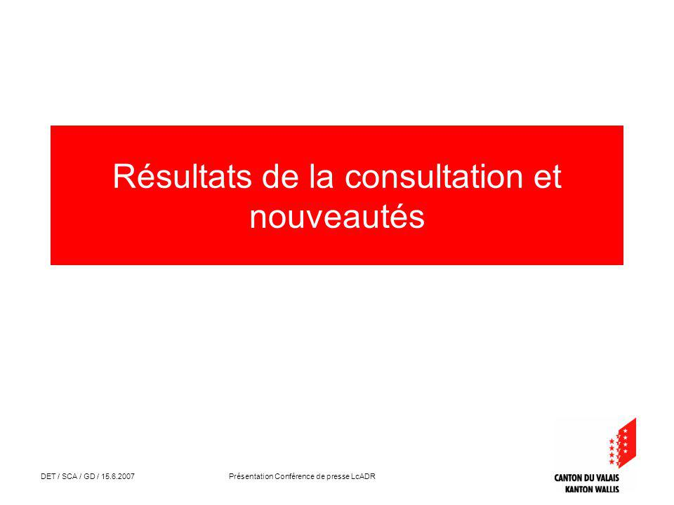 DET / SCA / GD / 15.6.2007 Présentation Conférence de presse LcADR Résultats de la consultation et nouveautés
