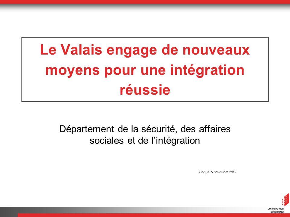 Le Valais engage de nouveaux moyens pour une intégration réussie Département de la sécurité, des affaires sociales et de lintégration Sion, le 5 novem