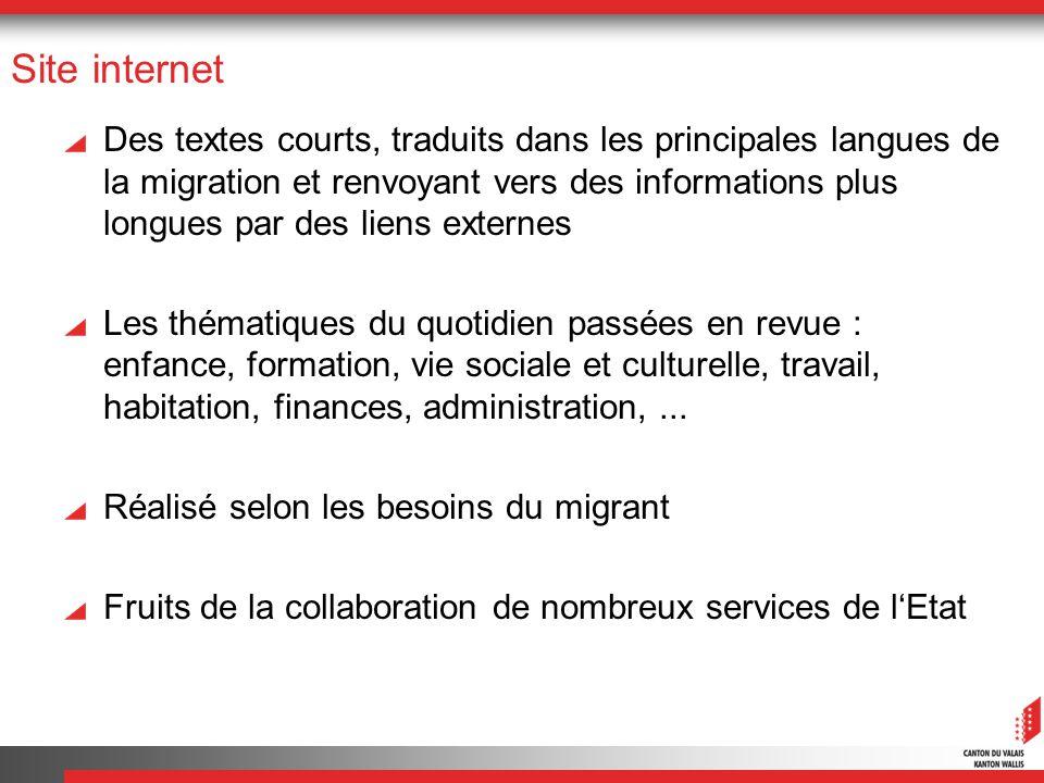 Site internet Des textes courts, traduits dans les principales langues de la migration et renvoyant vers des informations plus longues par des liens e