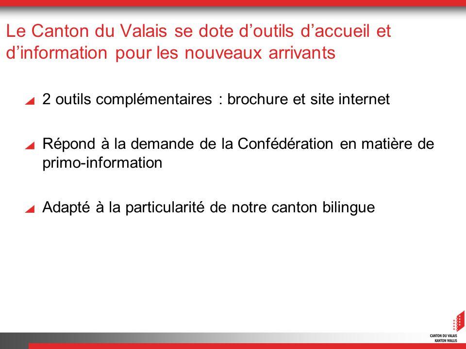 Le Canton du Valais se dote doutils daccueil et dinformation pour les nouveaux arrivants 2 outils complémentaires : brochure et site internet Répond à