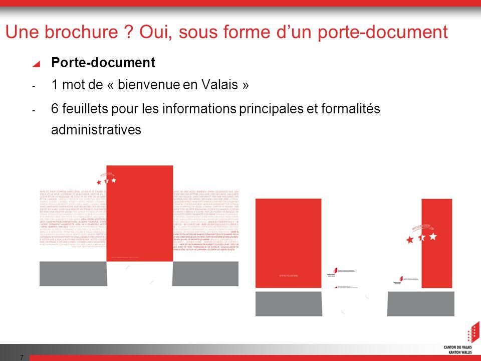 Une brochure ? Oui, sous forme dun porte-document Porte-document - 1 mot de « bienvenue en Valais » - 6 feuillets pour les informations principales et