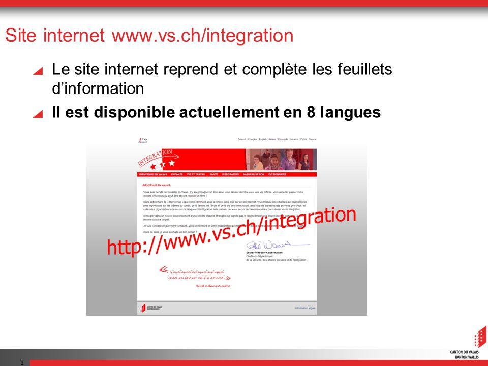Site internet www.vs.ch/integration Le site internet reprend et complète les feuillets dinformation Il est disponible actuellement en 8 langues 8