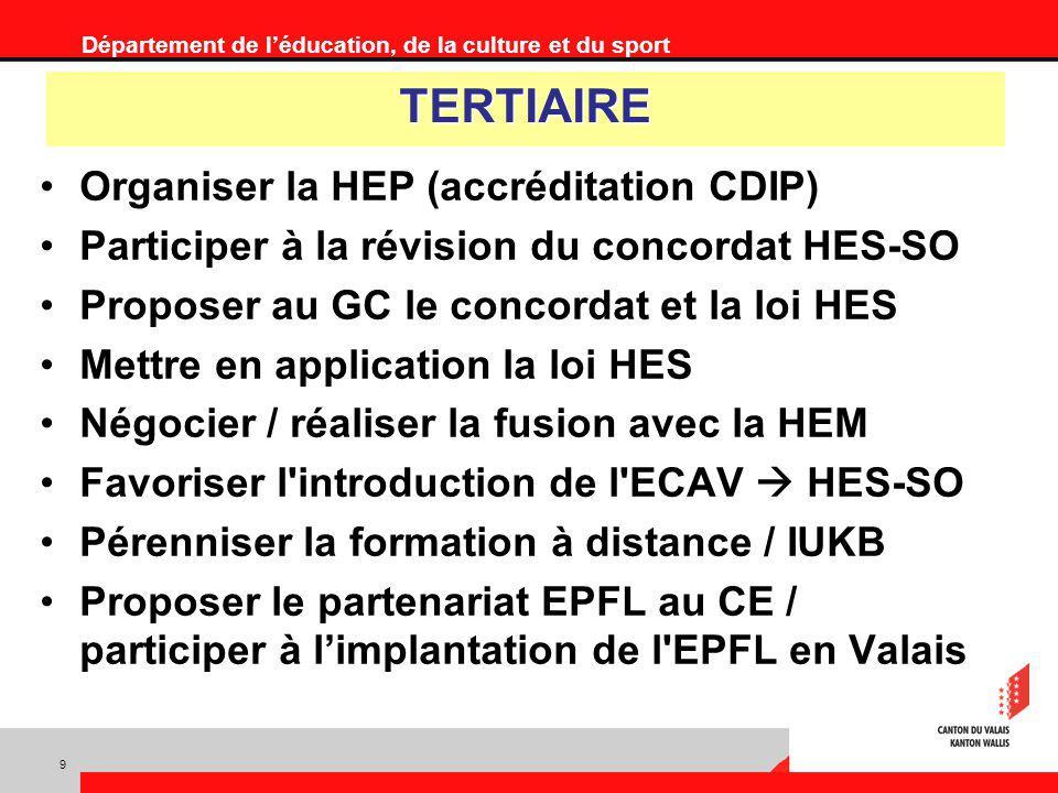 Département de léducation, de la culture et du sport TERTIAIRE Organiser la HEP (accréditation CDIP) Participer à la révision du concordat HES-SO Proposer au GC le concordat et la loi HES Mettre en application la loi HES Négocier / réaliser la fusion avec la HEM Favoriser l introduction de l ECAV HES-SO Pérenniser la formation à distance / IUKB Proposer le partenariat EPFL au CE / participer à limplantation de l EPFL en Valais 9