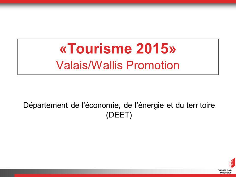 «Tourisme 2015» Valais/Wallis Promotion Département de léconomie, de lénergie et du territoire (DEET)