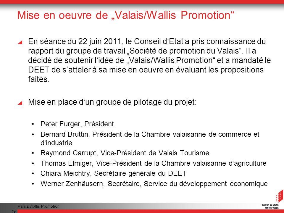 Valais/Wallis Promotion 19 Mise en oeuvre de Valais/Wallis Promotion En séance du 22 juin 2011, le Conseil dEtat a pris connaissance du rapport du gro