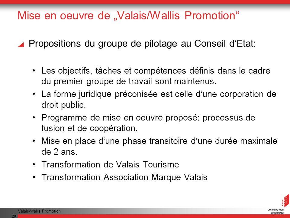 Valais/Wallis Promotion 20 Mise en oeuvre de Valais/Wallis Promotion Propositions du groupe de pilotage au Conseil dEtat: Les objectifs, tâches et compétences définis dans le cadre du premier groupe de travail sont maintenus.