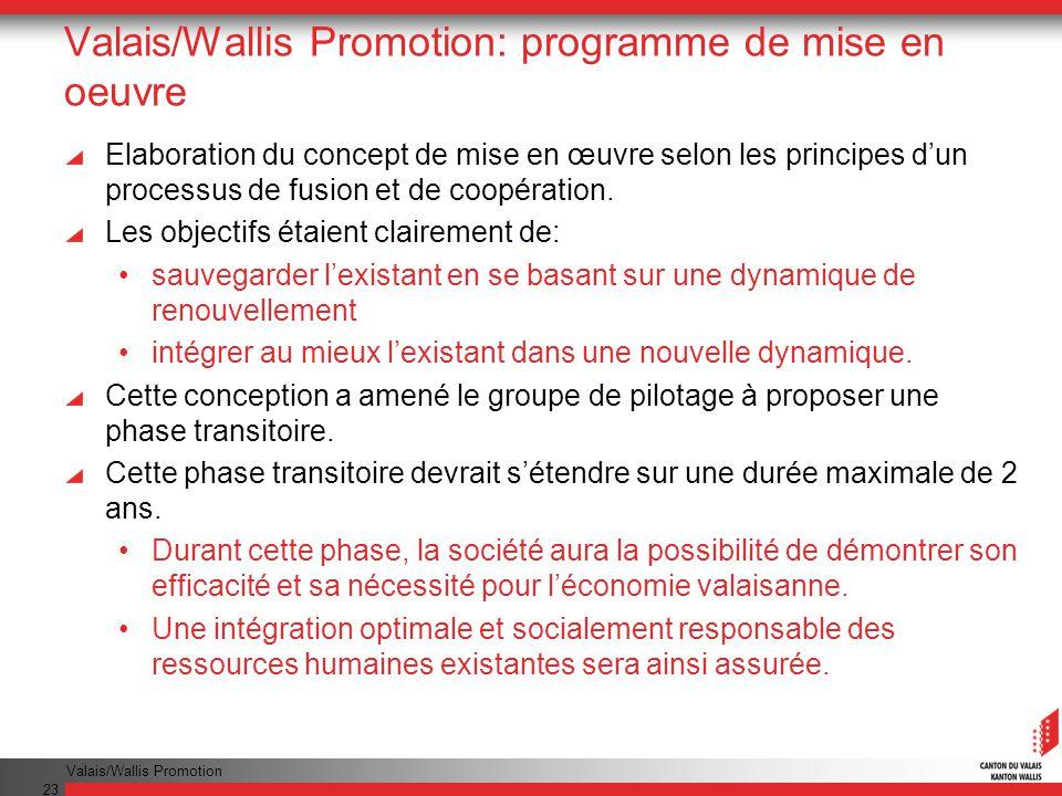 Valais/Wallis Promotion 23 Valais/Wallis Promotion: programme de mise en oeuvre Elaboration du concept de mise en œuvre selon les principes dun processus de fusion et de coopération.