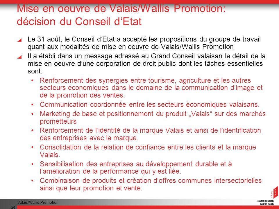 Valais/Wallis Promotion 24 Mise en oeuvre de Valais/Wallis Promotion: décision du Conseil dEtat Le 31 août, le Conseil dEtat a accepté les proposition