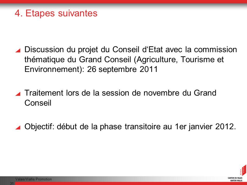 Valais/Wallis Promotion 31 4. Etapes suivantes Discussion du projet du Conseil dEtat avec la commission thématique du Grand Conseil (Agriculture, Tour