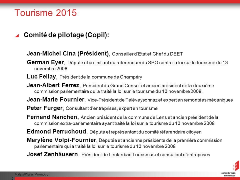 Valais/Wallis Promotion 5 Tourisme 2015 Comité de pilotage (Copil): Jean-Michel Cina (Président), Conseiller dEtat et Chef du DEET German Eyer, Député