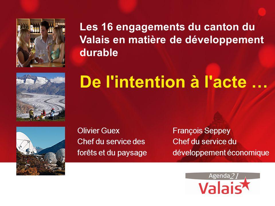 Les 16 engagements du canton du Valais en matière de développement durable De l'intention à l'acte … Olivier Guex Chef du service des forêts et du pay