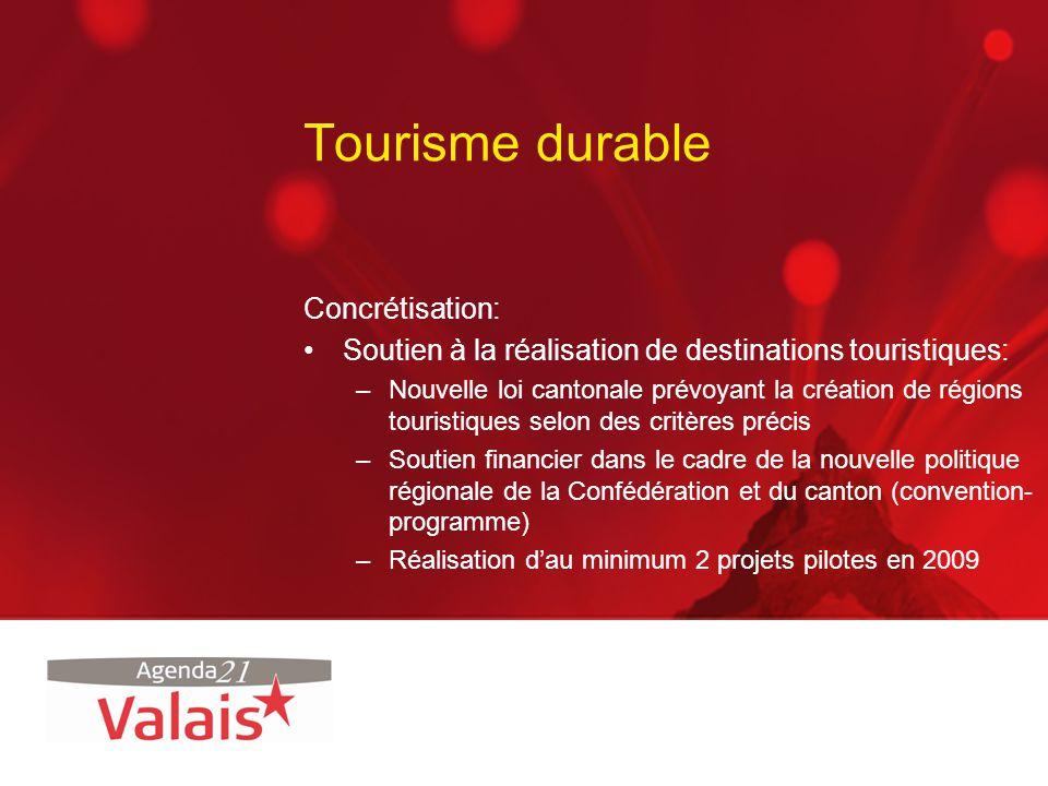 Tourisme durable Concrétisation: Soutien à la réalisation de destinations touristiques: –Nouvelle loi cantonale prévoyant la création de régions touri