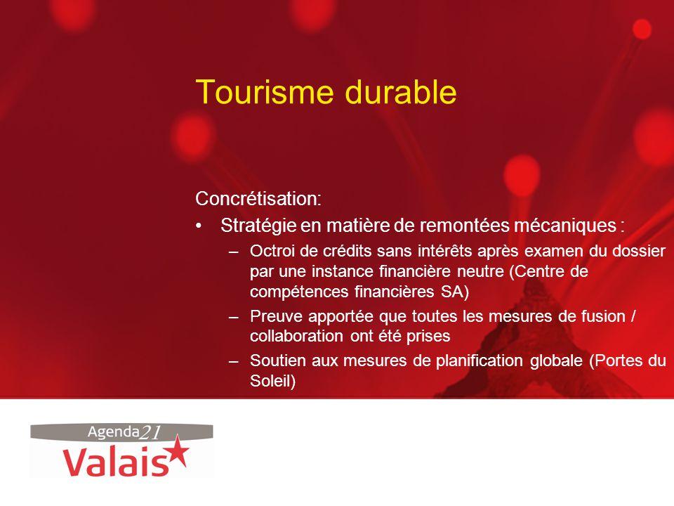 Tourisme durable Concrétisation: Stratégie en matière de remontées mécaniques : –Octroi de crédits sans intérêts après examen du dossier par une insta