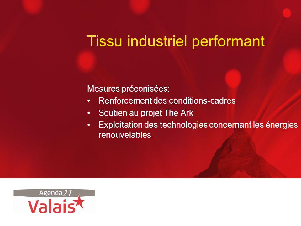 Tissu industriel performant Mesures préconisées: Renforcement des conditions-cadres Soutien au projet The Ark Exploitation des technologies concernant