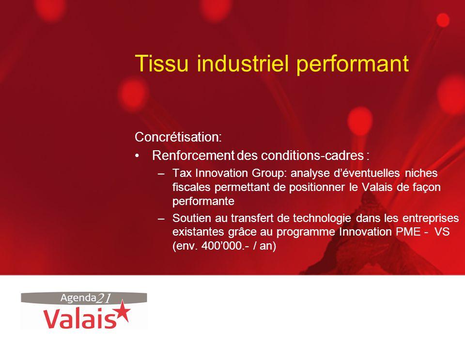 Tissu industriel performant Concrétisation: Renforcement des conditions-cadres : –Tax Innovation Group: analyse déventuelles niches fiscales permettan
