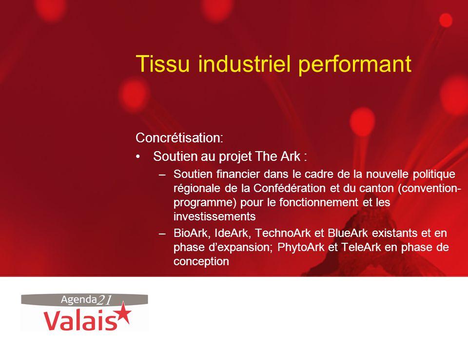 Tissu industriel performant Concrétisation: Soutien au projet The Ark : –Soutien financier dans le cadre de la nouvelle politique régionale de la Conf