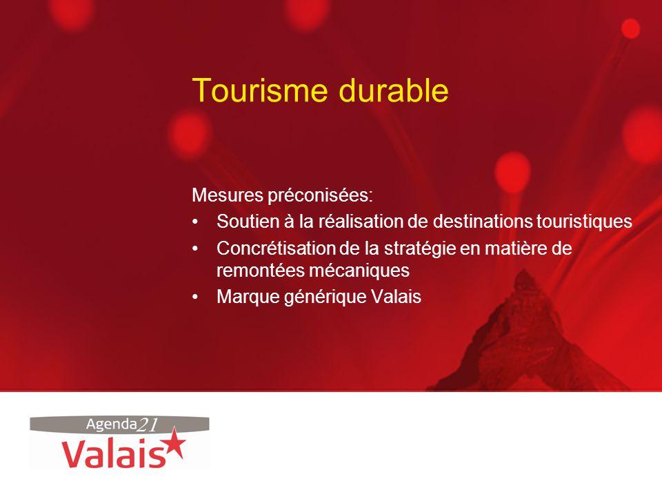 Tourisme durable Mesures préconisées: Soutien à la réalisation de destinations touristiques Concrétisation de la stratégie en matière de remontées méc