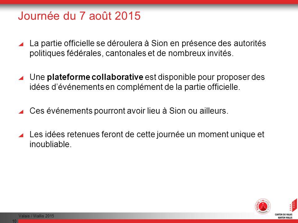 Valais / Wallis 2015 10 Journée du 7 août 2015 La partie officielle se déroulera à Sion en présence des autorités politiques fédérales, cantonales et de nombreux invités.