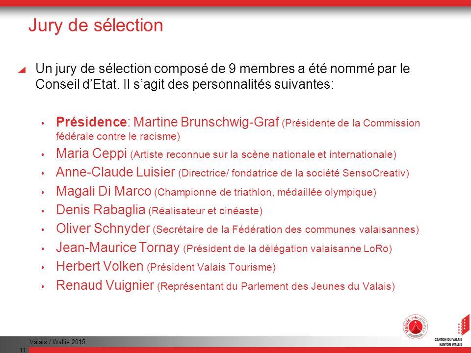 Valais / Wallis 2015 11 Jury de sélection Un jury de sélection composé de 9 membres a été nommé par le Conseil dEtat.