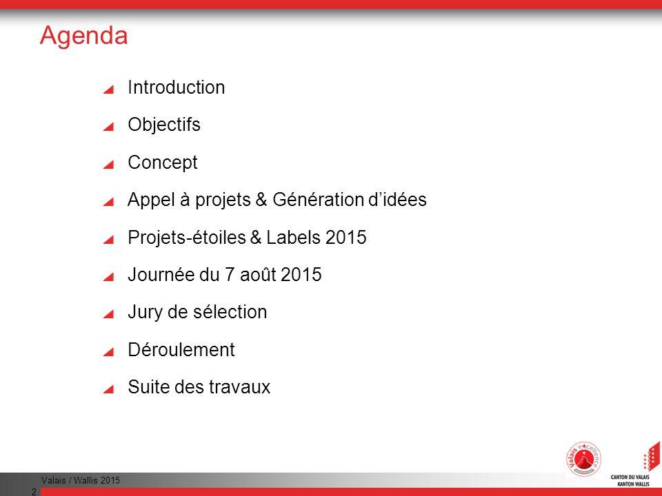 Valais / Wallis 2015 2 Agenda Introduction Objectifs Concept Appel à projets & Génération didées Projets-étoiles & Labels 2015 Journée du 7 août 2015 Jury de sélection Déroulement Suite des travaux