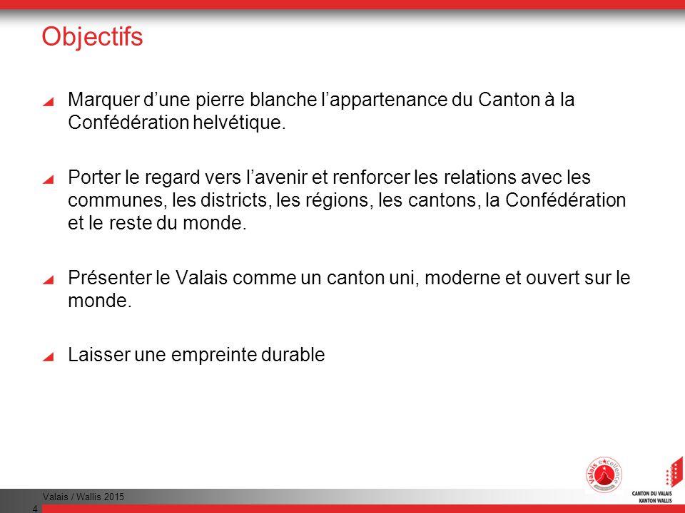 Valais / Wallis 2015 4 Objectifs Marquer dune pierre blanche lappartenance du Canton à la Confédération helvétique.