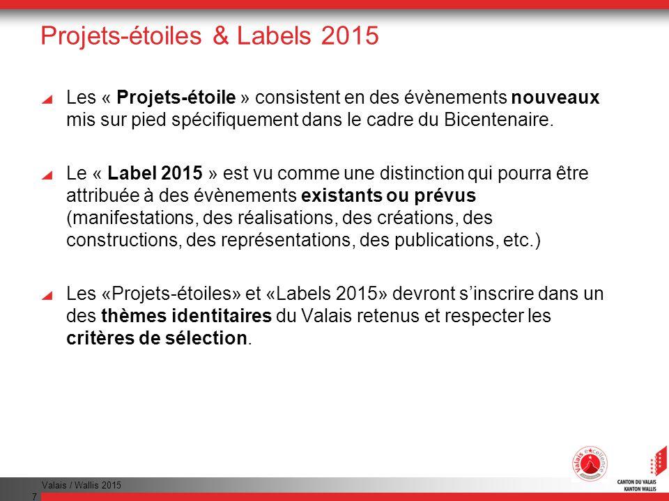 Valais / Wallis 2015 7 Projets-étoiles & Labels 2015 Les « Projets-étoile » consistent en des évènements nouveaux mis sur pied spécifiquement dans le cadre du Bicentenaire.