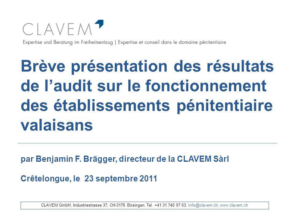 Brève présentation des résultats de laudit sur le fonctionnement des établissements pénitentiaire valaisans par Benjamin F. Brägger, directeur de la C