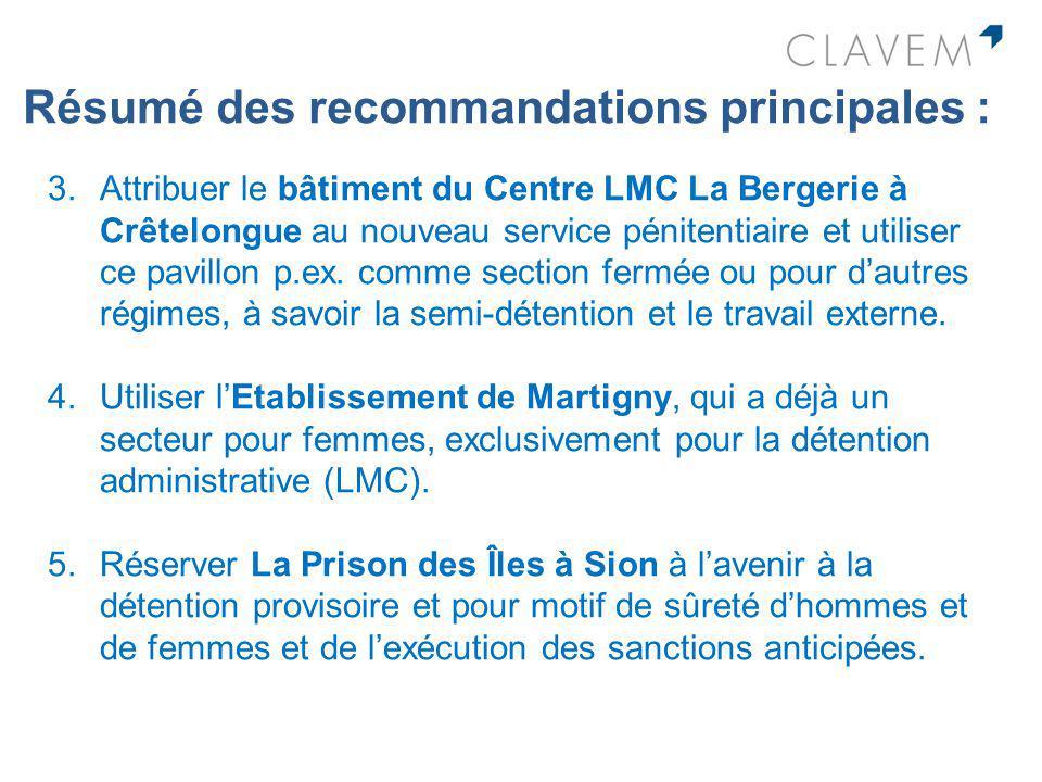Résumé des recommandations principales : 3.Attribuer le bâtiment du Centre LMC La Bergerie à Crêtelongue au nouveau service pénitentiaire et utiliser