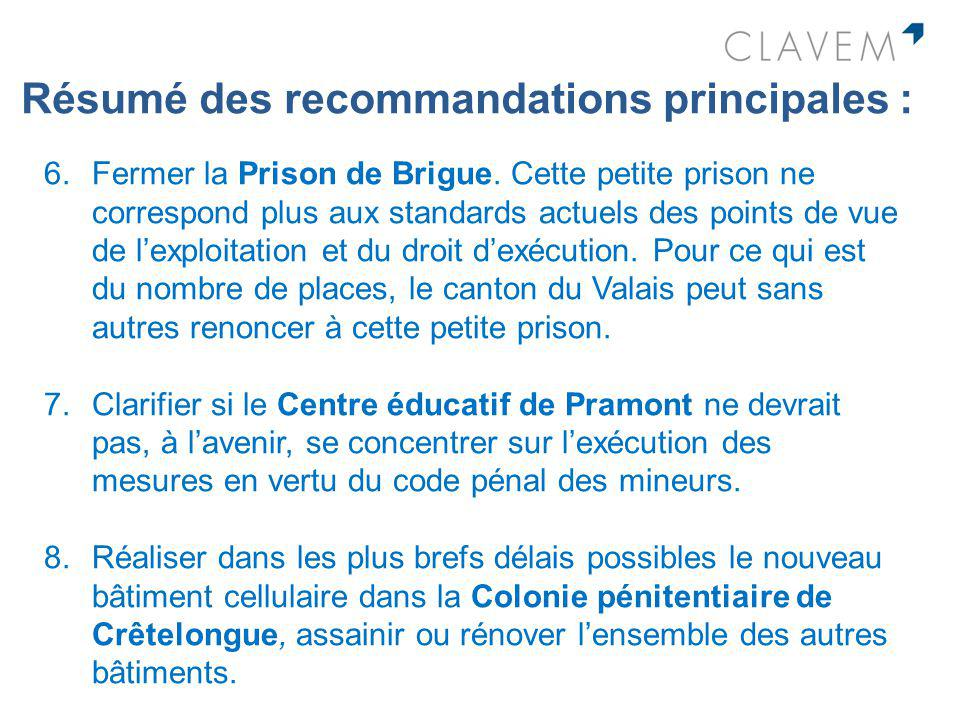 Résumé des recommandations principales : 6.Fermer la Prison de Brigue. Cette petite prison ne correspond plus aux standards actuels des points de vue