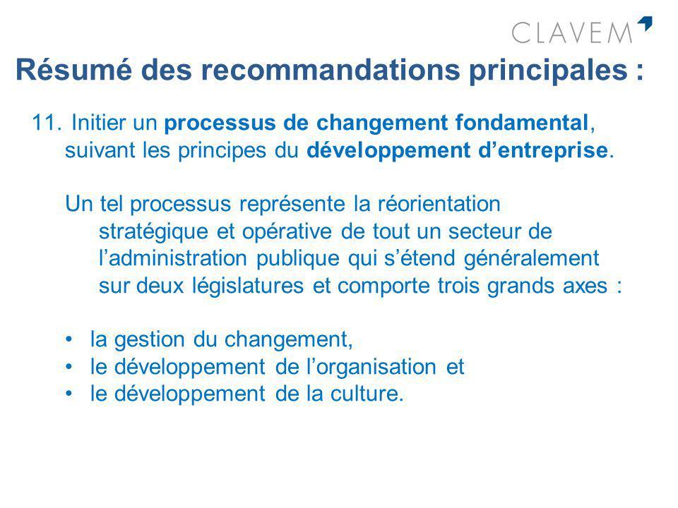 Résumé des recommandations principales : 11. Initier un processus de changement fondamental, suivant les principes du développement dentreprise. Un te