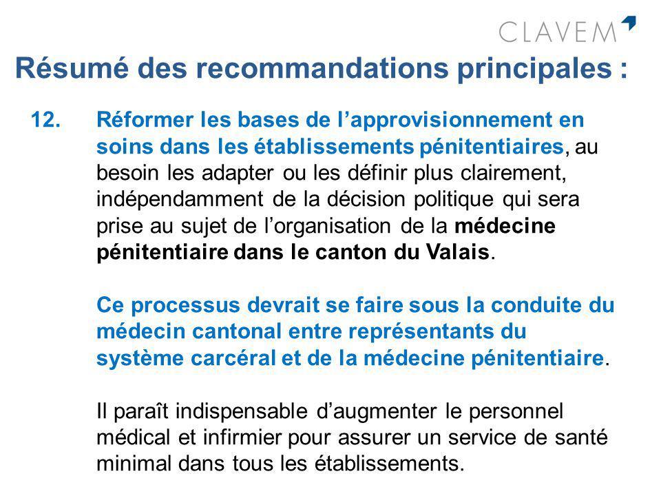 Résumé des recommandations principales : 12. Réformer les bases de lapprovisionnement en soins dans les établissements pénitentiaires, au besoin les a