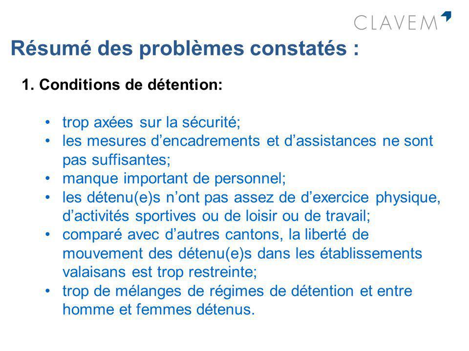 Résumé des problèmes constatés : 1.Conditions de détention: trop axées sur la sécurité; les mesures dencadrements et dassistances ne sont pas suffisan