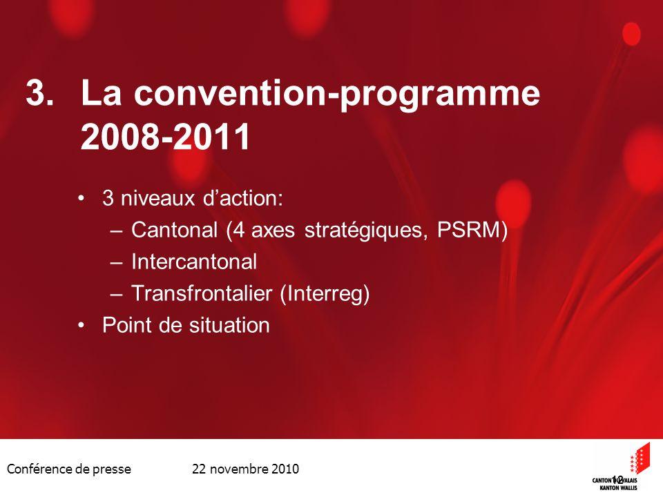 Conférence de presse 22 novembre 2010 12 3.La convention-programme 2008-2011 3 niveaux daction: –Cantonal (4 axes stratégiques, PSRM) –Intercantonal –
