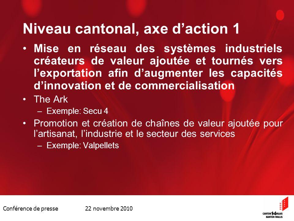 Conférence de presse 22 novembre 2010 14 Niveau cantonal, axe daction 1 Mise en réseau des systèmes industriels créateurs de valeur ajoutée et tournés