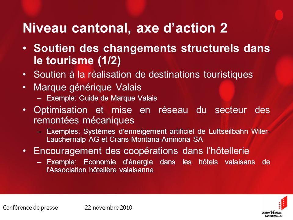 Conférence de presse 22 novembre 2010 15 Niveau cantonal, axe daction 2 Soutien des changements structurels dans le tourisme (1/2) Soutien à la réalis