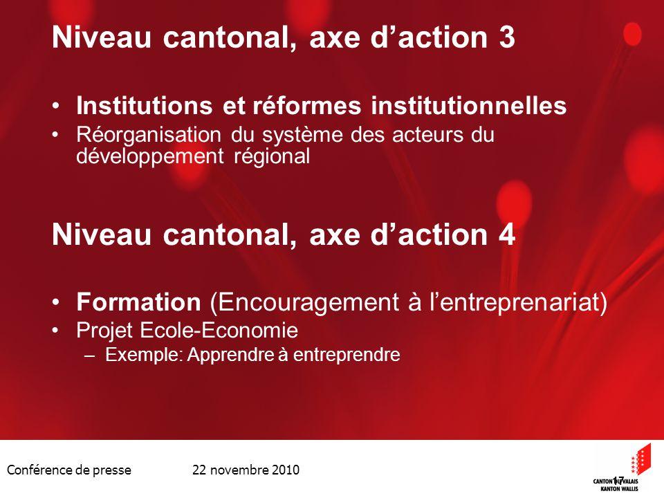 Conférence de presse 22 novembre 2010 17 Niveau cantonal, axe daction 3 Institutions et réformes institutionnelles Réorganisation du système des acteu