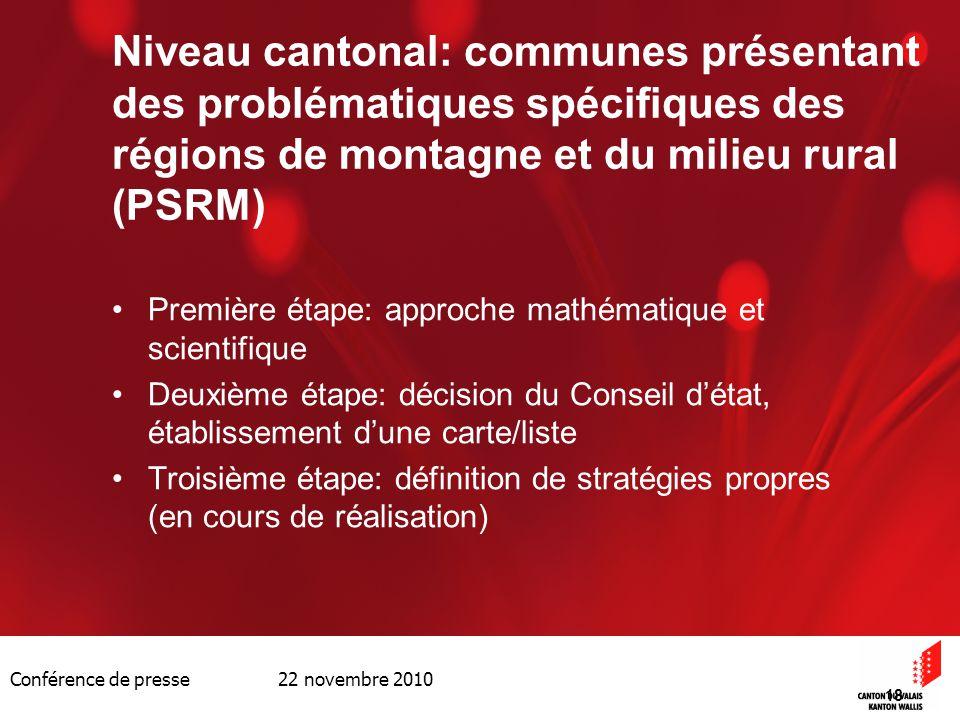 Conférence de presse 22 novembre 2010 18 Niveau cantonal: communes présentant des problématiques spécifiques des régions de montagne et du milieu rura
