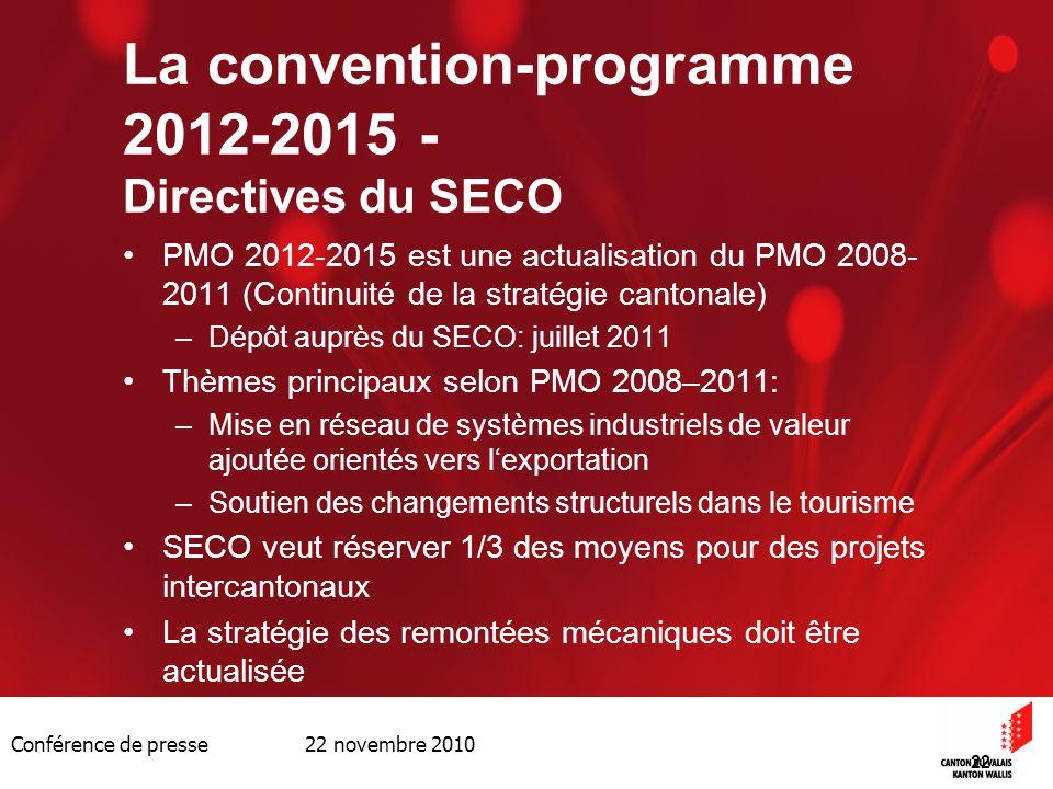 Conférence de presse 22 novembre 2010 22 La convention-programme 2012-2015 - Directives du SECO PMO 2012-2015 est une actualisation du PMO 2008- 2011